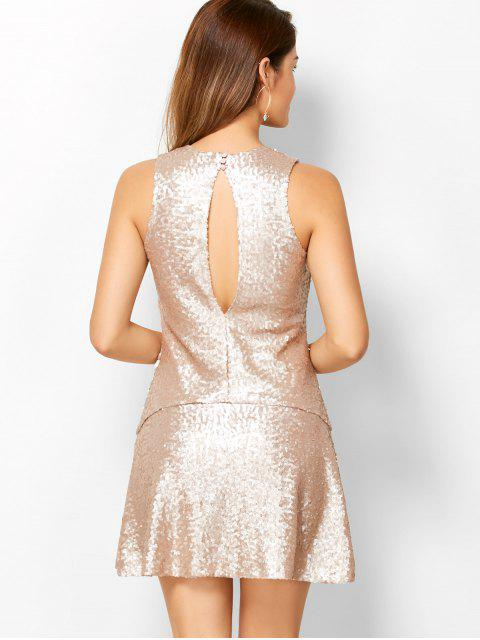 shops Sequined Cut Out Jewel Neck Dress - BEIGE M Mobile