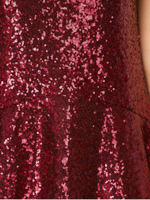 lady Sequined Cut Out Jewel Neck Dress - BURGUNDY XS Mobile