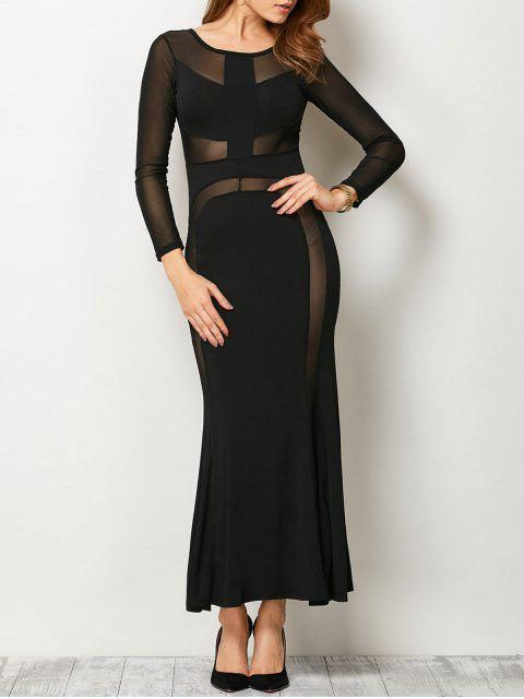 outfit See Thru Mesh Panel Bandage Maxi Dress - BLACK S Mobile