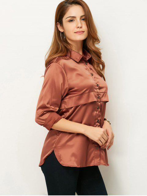 trendy Long Sleeve Loose Shirt - BROWN XL Mobile