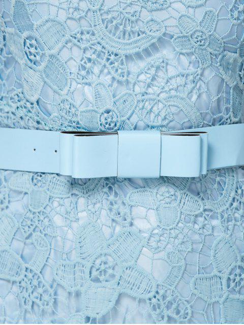 best Scoop Neck Belted Lace Dress - LIGHT BLUE S Mobile