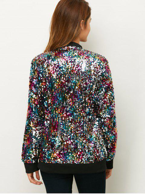 outfits Sequins Bomber Jacket - MULTICOLOR XL Mobile