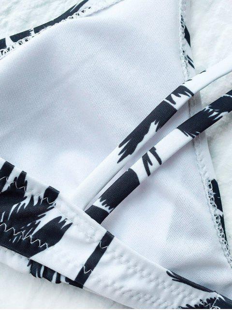 women Palm Trees Printed Strappy Bikini - WHITE S Mobile