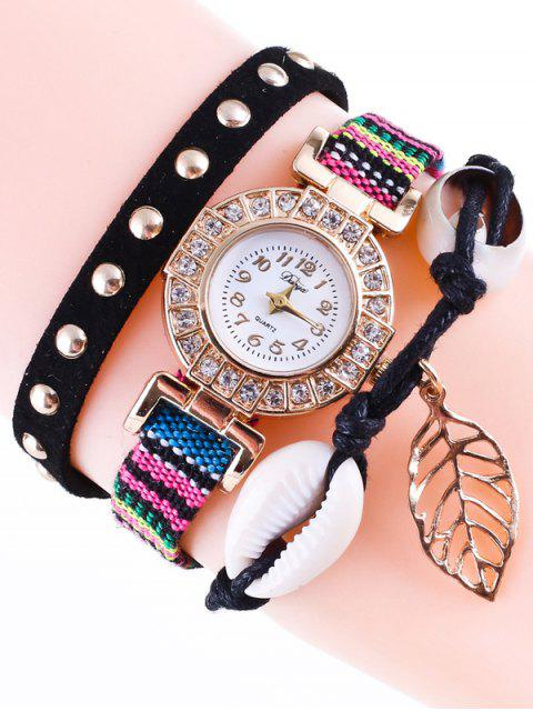 Trenzada Rhinestone Strand reloj pulsera - Negro  Mobile