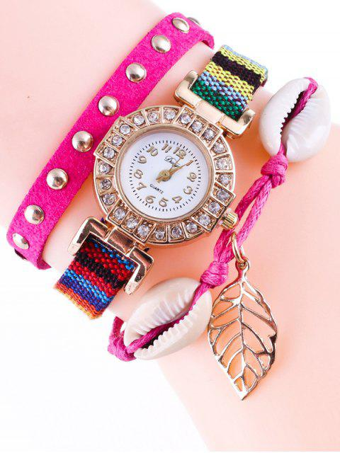 trendy Braided Rhinestone Strand Bracelet Watch - TUTTI FRUTTI  Mobile