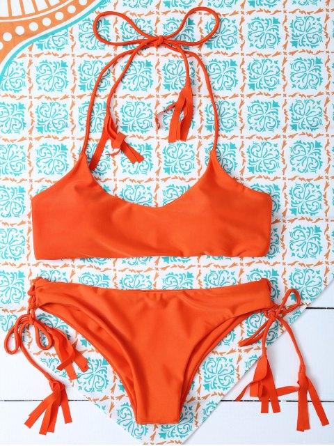 womens Tasselled Halter Bikini Set - ORANGE M Mobile