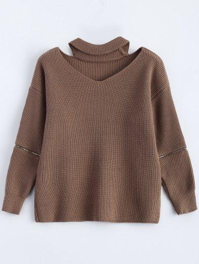 Zipped Sleeve Choker Jumper - Khaki