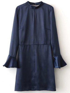 Bell Sleeve Cut Out Dress - Blue S