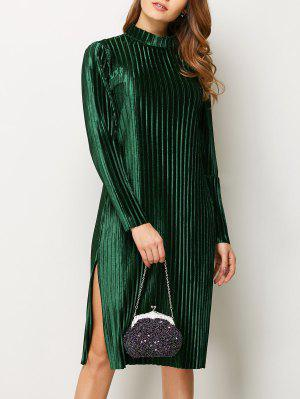 Long Sleeve Pleated Pleuche Party Knee Length Dress - Green S
