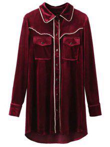 Contrast Piped Velvet Shirt Dress - Burgundy S