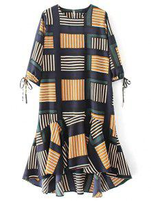 Plaid High Low Ruffles Midi Dress With Sleeves - M