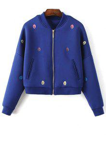 Tree Embroidered Space Cotton Jacket - Blue S