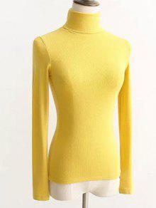 Suéter Apretado Cuello Acanalado    - Amarillo