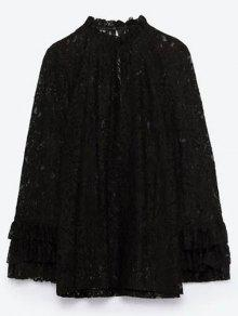 Layered Ruff Collar Lace Blouse - Black S