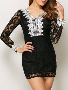 V Neck Bodycon Mini Lace Dress - Black M