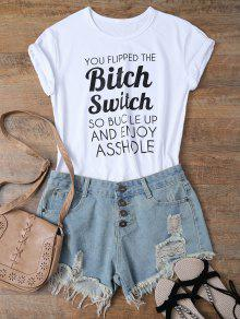 Jewel Neck Letter T-Shirt - White S