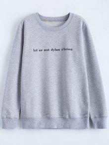 Streetwear Letter Pattern Sweatshirt - Gray M