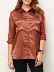 Long Sleeve Loose Shirt - Brown S
