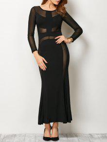 See Thru Mesh Panel Bandage Maxi Dress - Black M