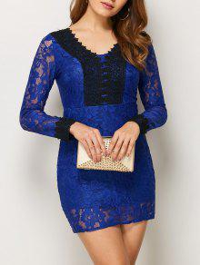 V Neck Bodycon Mini Lace Dress - Blue M
