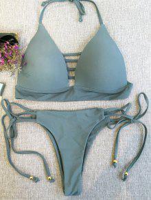 Plunge Bikini Top And Thong Bikini Bottoms - Sage Green M