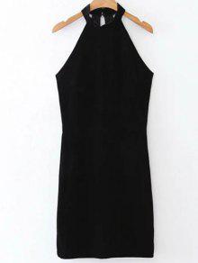 Halter Velvet Bodycon Dress - Black L