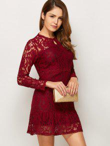Red Long Sleeve Lace Dress