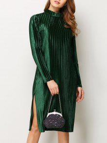 Long Sleeve Pleated Pleuche Party Knee Length Dress - Green 2xl