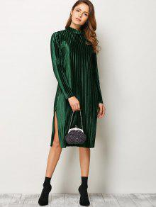 8f56458c5dc 64% OFF  2019 Long Sleeve Pleated Pleuche Party Knee Length Dress In ...