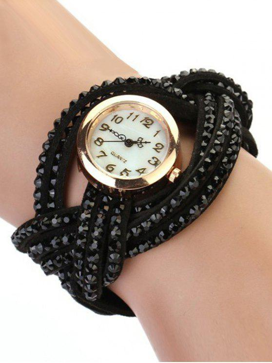 womens Rhinestone Number Twist Bracelet Watch - BLACK