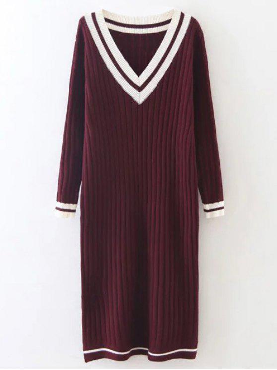 best Straight Midi Jumper Dress - BURGUNDY ONE SIZE