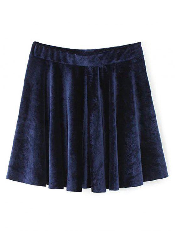 trendy Velvet A Line Mini Skirt - PURPLISH BLUE L