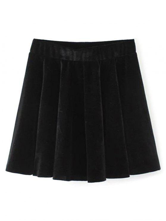unique Velvet A Line Mini Skirt - BLACK M