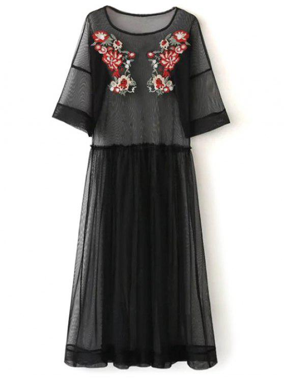 outfits See Thru Tulle Embroidered Maxi Dress - BLACK S
