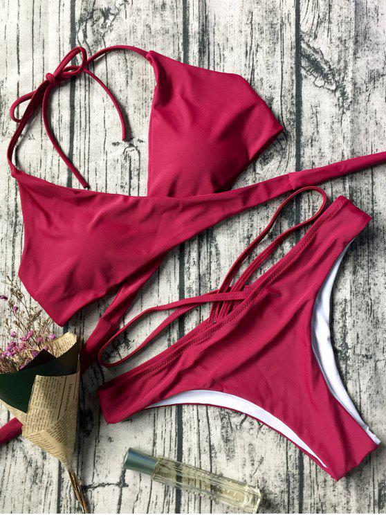 outfits Double Side Crossover Bikini Swimwear - RED S