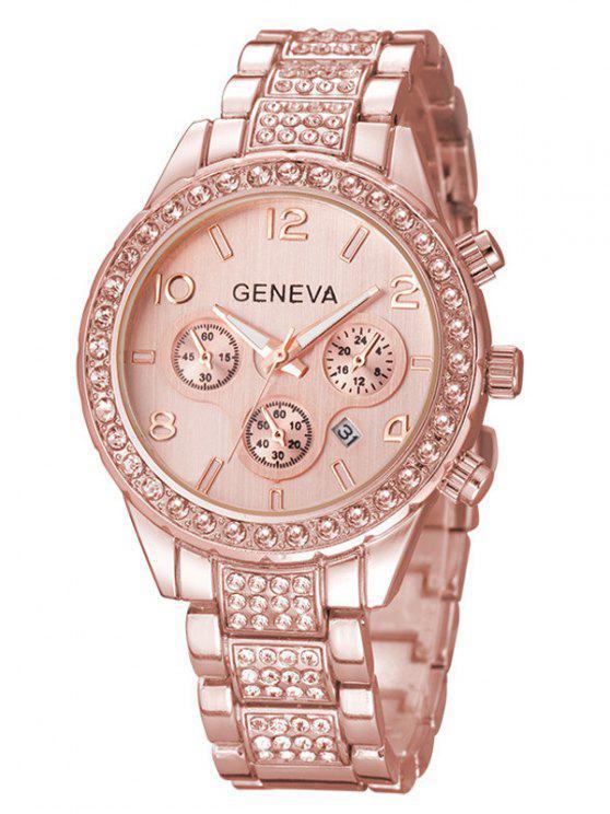 Rhinestoned relógio de pulso de quartzo - Rosa Dourado