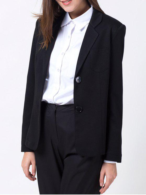 ladies Back Slit Lapel Collar Blazer - BLACK M