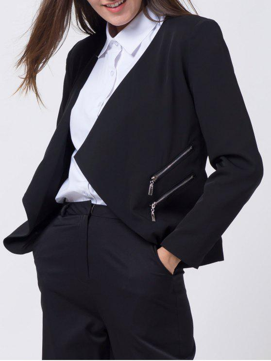 outfit Open Front Draped Zipper Blazer - BLACK M