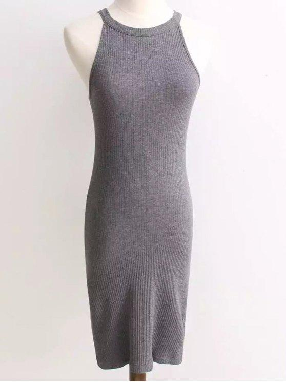 best Ribbed Sleeveless Knitted Bodycon Dress - GRAY ONE SIZE