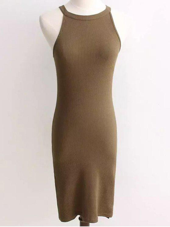 online Ribbed Sleeveless Knitted Bodycon Dress - ARMY GREEN ONE SIZE