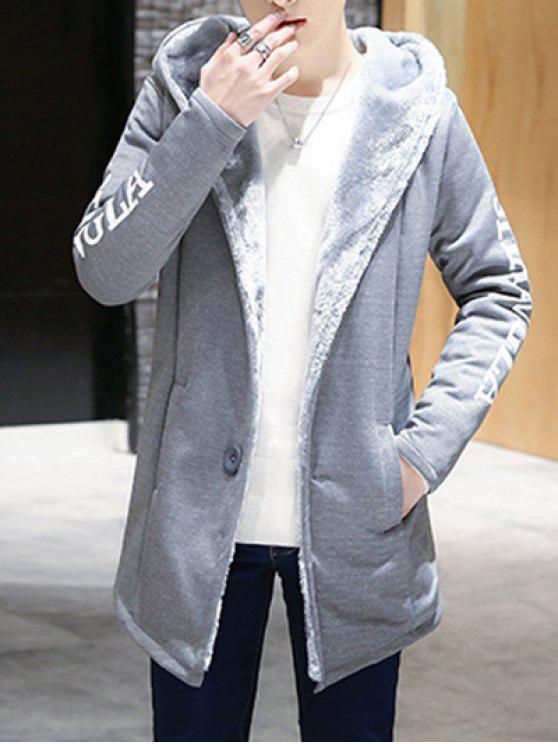 Cappotto grafica stampata affollamento bottoni con cappuccio - Grigio Scuro 3XL
