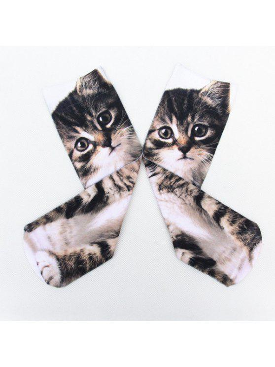 online Little Cat 3D Printed Crazy Socks - DEEP GRAY