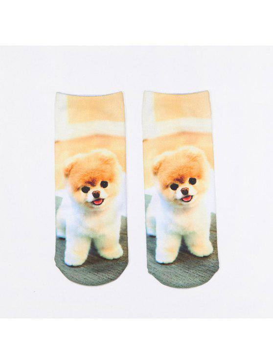 new Little Pomeranian 3D Printed Crazy Socks - LIGHT BROWN