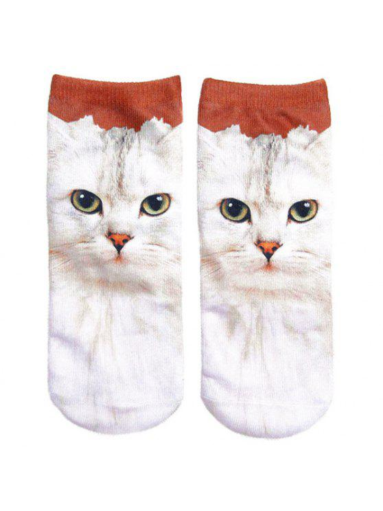 outfit 3D Cat Printed Crazy Socks - WHITE