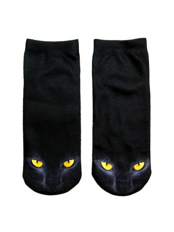 3D Black Cat Printed Crazy Ankle Meias - Preto
