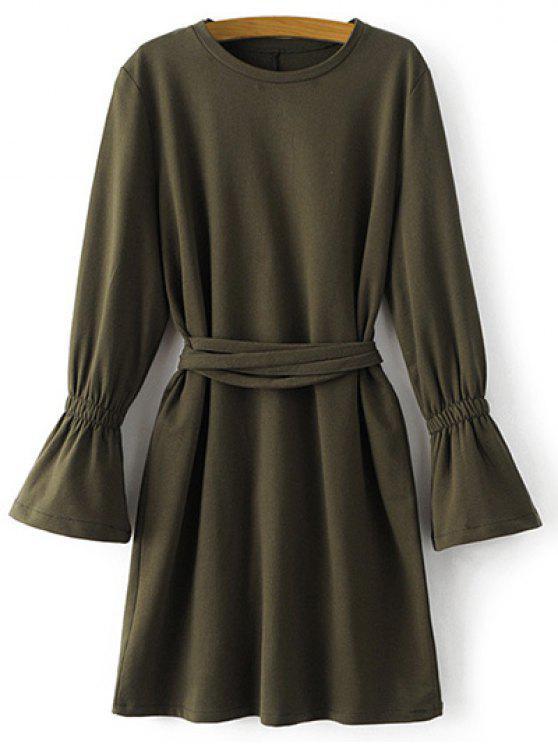 chic Bell Cuff Sleeve Tie Waist Dress - ARMY GREEN M