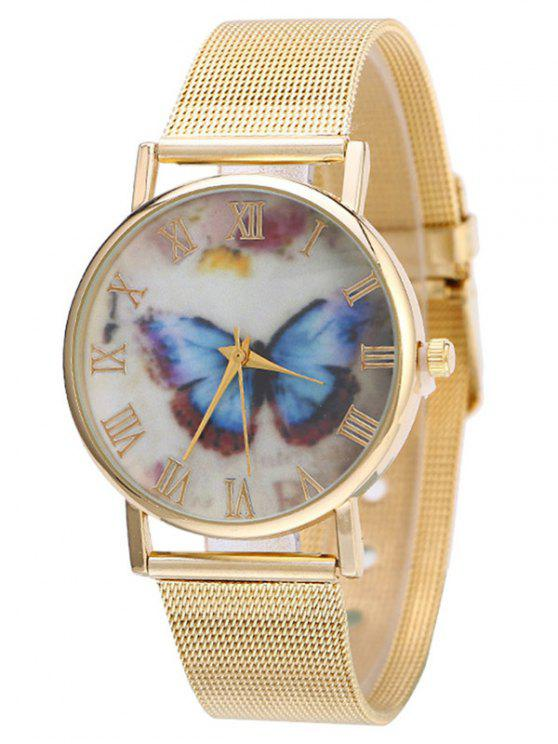affordable Metal Mesh Band Butterfly Analog Watch - GOLDEN