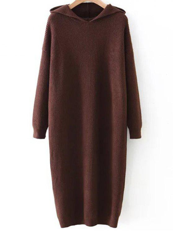 womens Hooded Midi Jumper Dress - COFFEE BROWN ONE SIZE