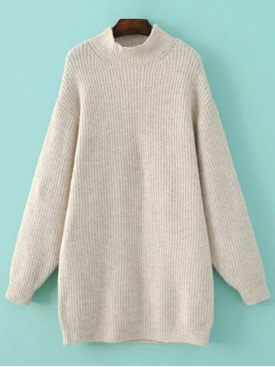 fashion Funnel Neck Oversized Sweater Dress - OFF-WHITE L