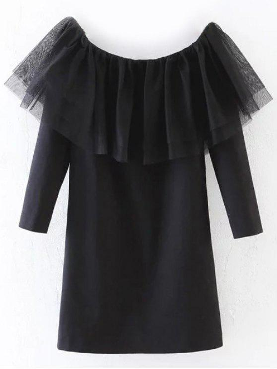 hot Tunic Tulle Flounce Top - BLACK M